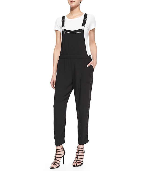 Blank Cybergoth Mesh Contrast Crepe Overalls
