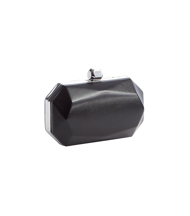 Wyatt Black Nappa Octagon Box With Clasp