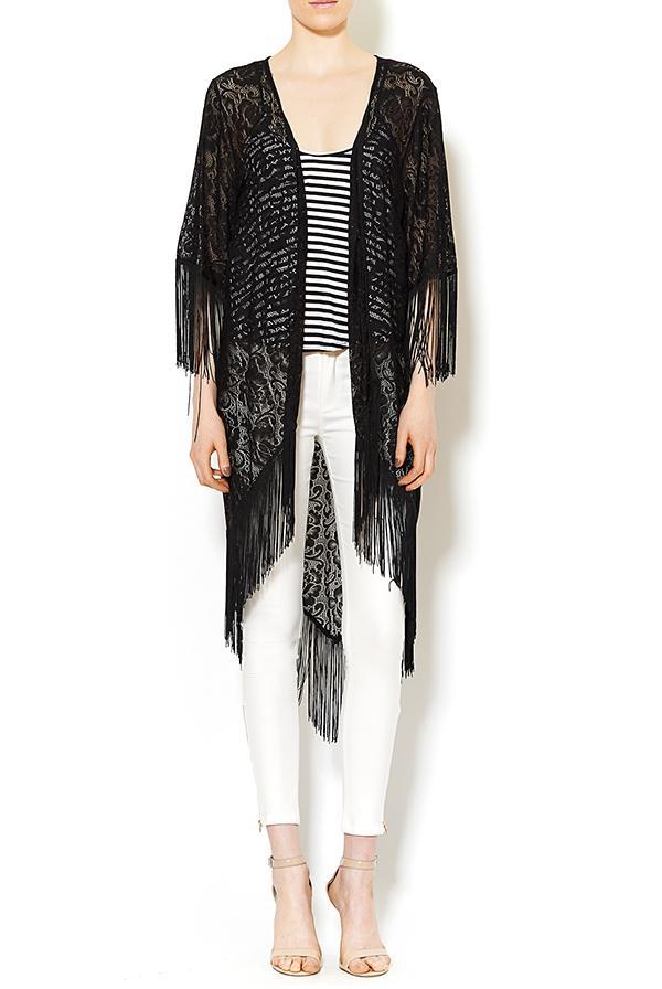 Shoptiques Black Fringe Kimono