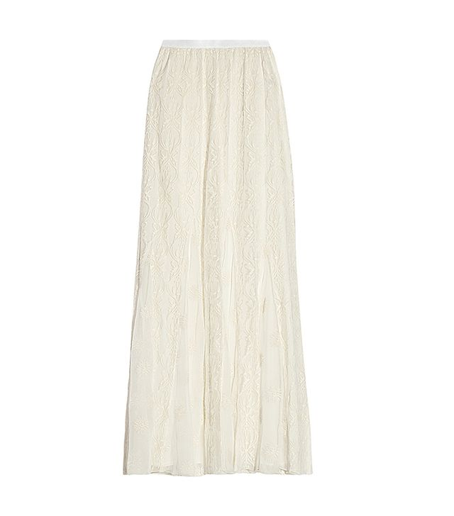 Alice + Olivia Louie Embroidered Silk-Tulle Maxi Skirt