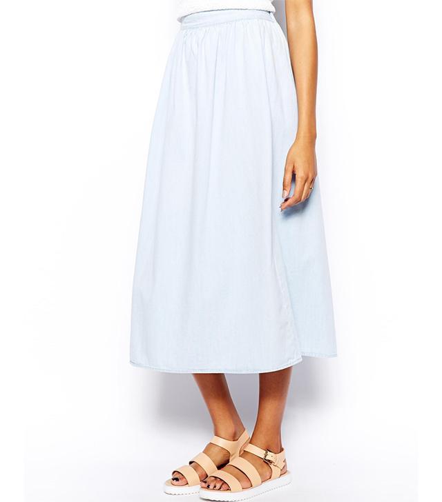 Warehouse Midi Denim Skirt