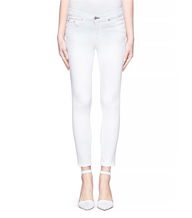 Rag & Bone Cropped White Skinny Jeans