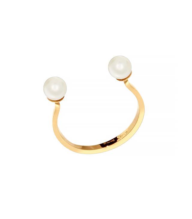 Delfina Delettrez Double-Pearl Yellow Gold Ring