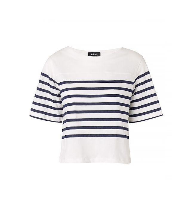 A.P.C. Marine Striped Cropped T-Shirt