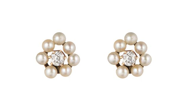 Alexis Bittar 1910's Edwardian Diamond And Pearl Cluster Stud