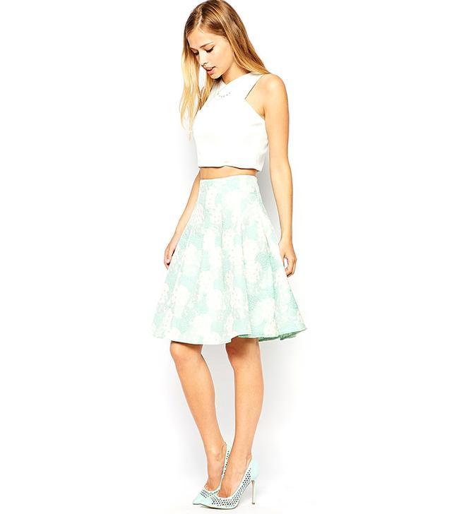 ASOS Premium High Waisted Skirt in Jacquard