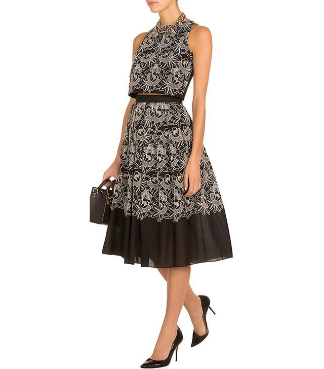 Tibi Embroidered Full Skirt