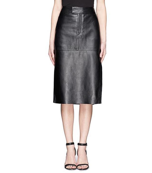 Helmut Lang Side Slit High-Waist Leather Skirt