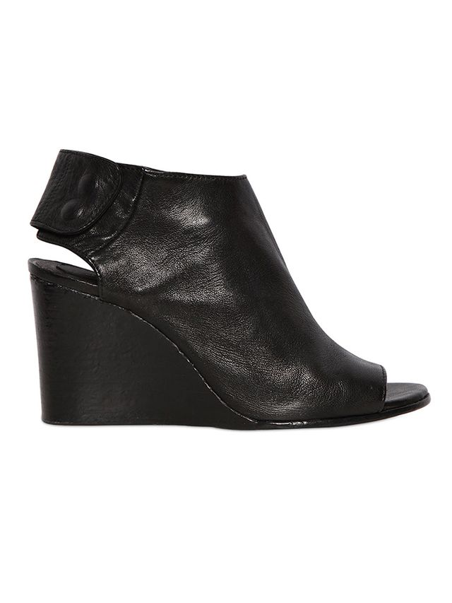 Shoe-Bar Leather Open-Toe Wedges