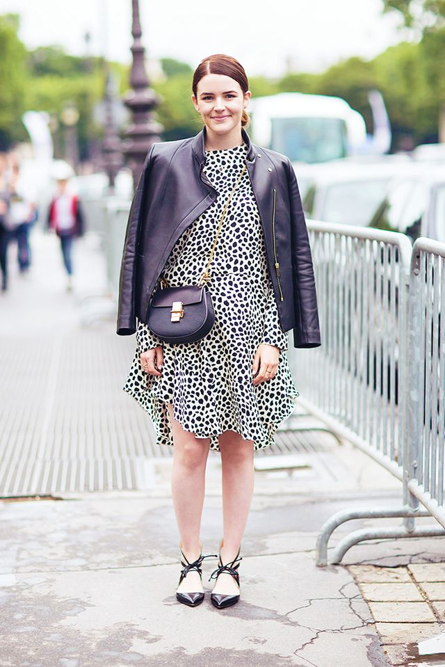 Tip: Make a leopard dress work for daytime with lace-up flats and a draped moto jacket: