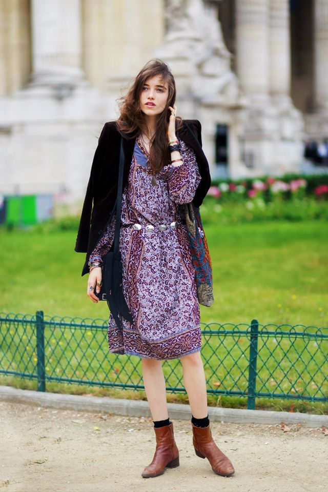Tip: Add personality to a romantic floral dress with flat boots and patterned socks: