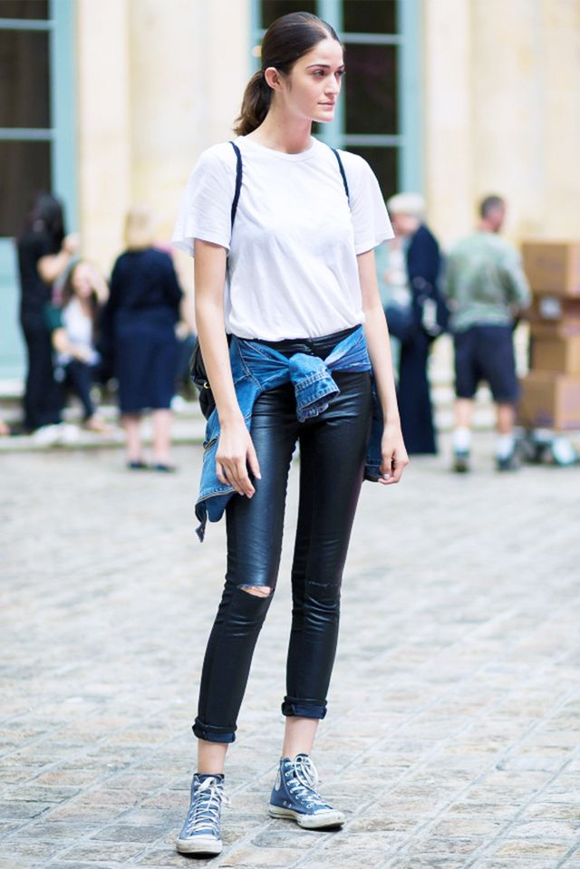 Tip: Dress down your leather pants with wardrobe basics and a roll of the hem: