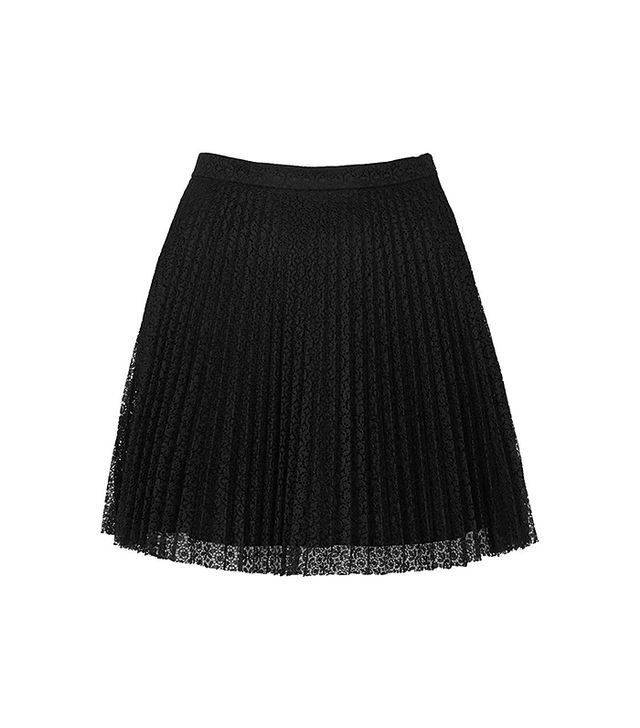 Topshop Pleat Lace Miniskirt