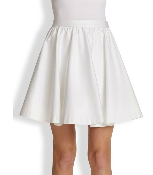 Alice + Olivia Laine Flared Stretch Cotton Skirt