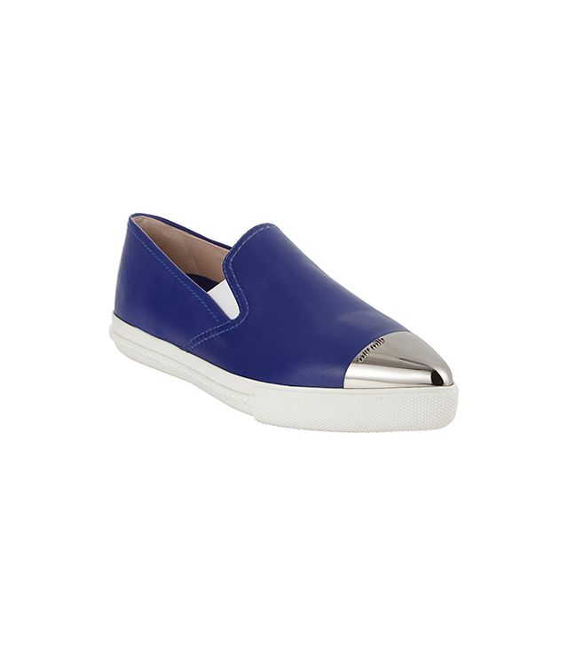 Miu Miu Metal Cap-Toe Slip-On Sneakers