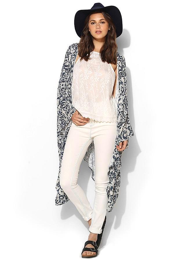 Chaser Boho-Print Oversized Kimono Jacket