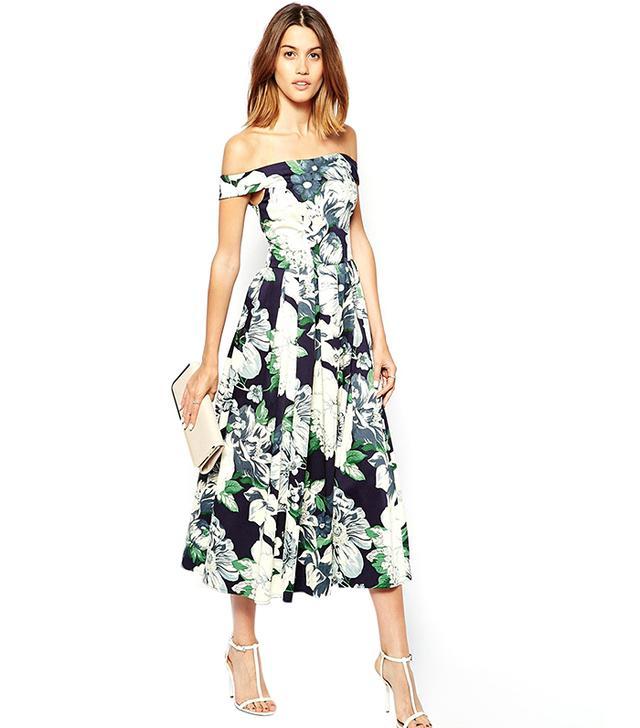 ASOS Floral Bardot Full Midi Prom Dress