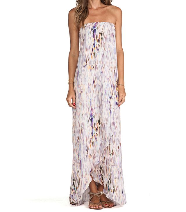 Helena Quinn Strapless Asymmetric Hem Maxi Dress