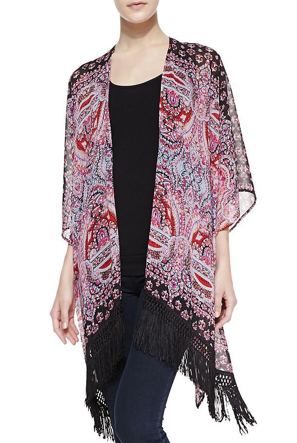Cusp by Neiman Marcus Turkish Paisley-Print Fringe Kimono