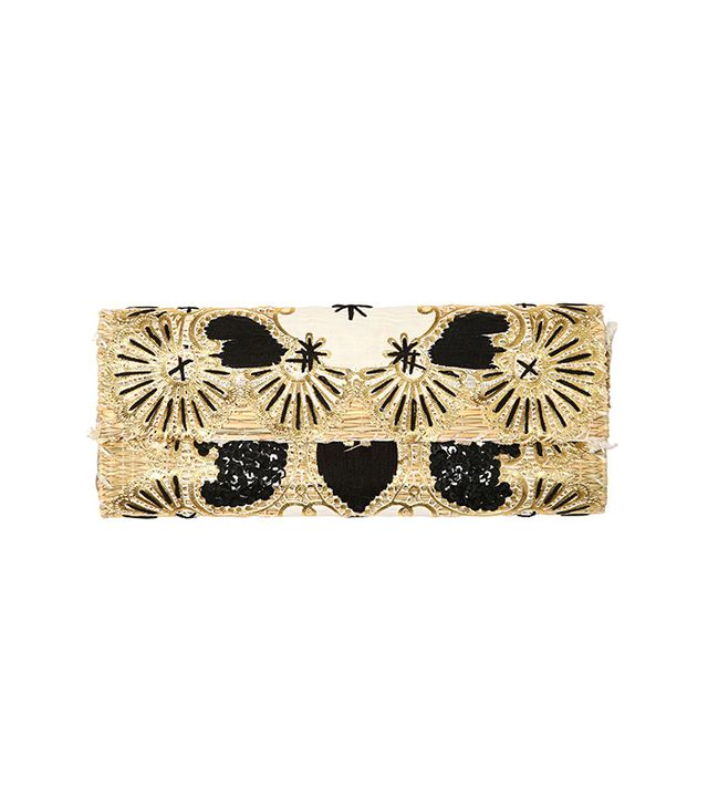 Laurence Heller Embroidered Sequins Cotton Straw Clutch