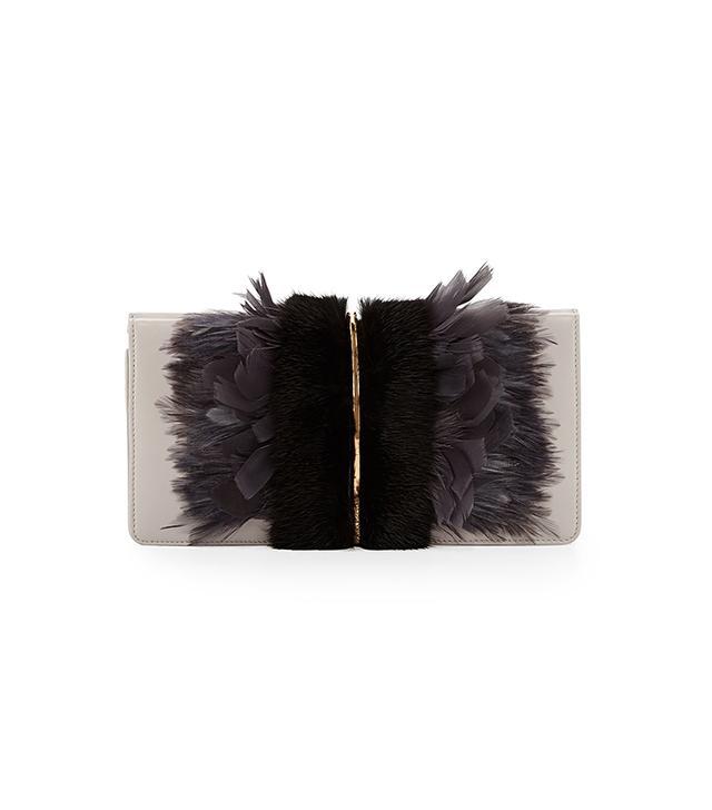 Nina Ricci Arc Feather/Fur Clutch Bag
