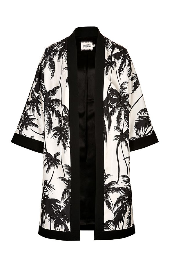 Fausto Puglisi Silk Palm Tree Coat