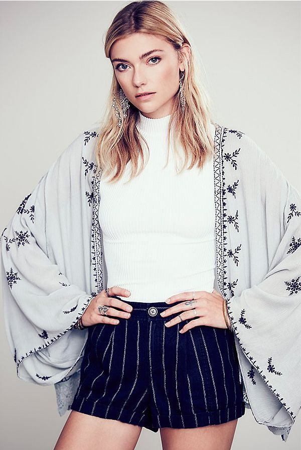 Free People Embroidered Kimono Jacket