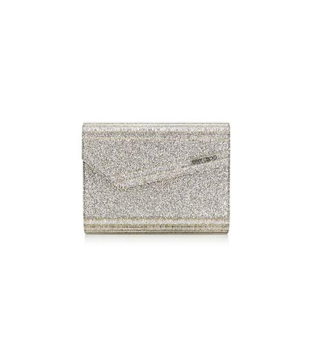 Jimmy Choo Champagne Glitter Acrylic Clutch Bag