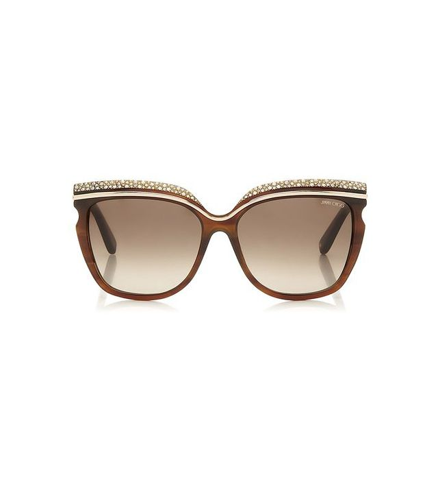Jimmy Choo Crystal Adorned Havana Framed Sunglasses