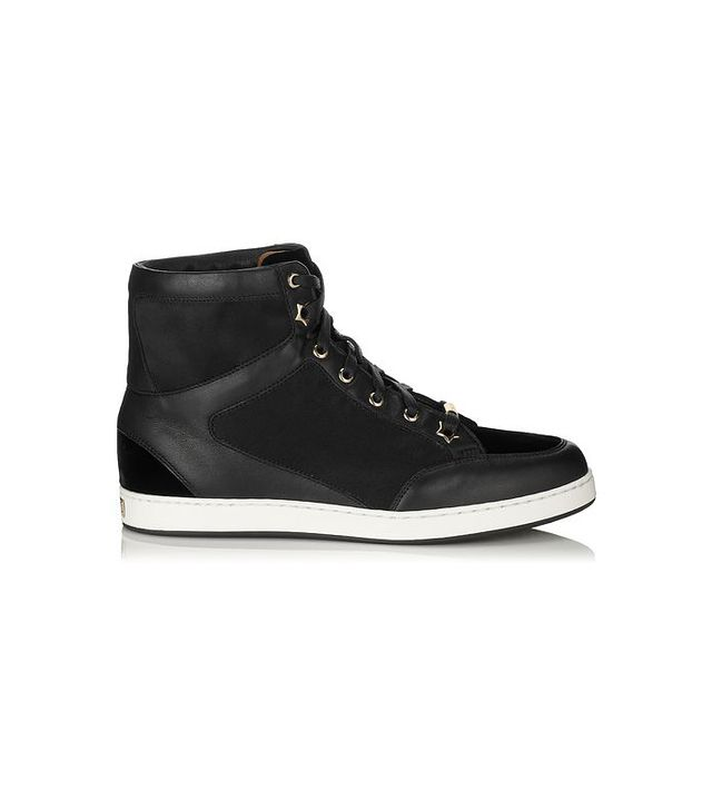 Jimmy Choo Black Velvet, Satin and Nappa High Top Sneakers