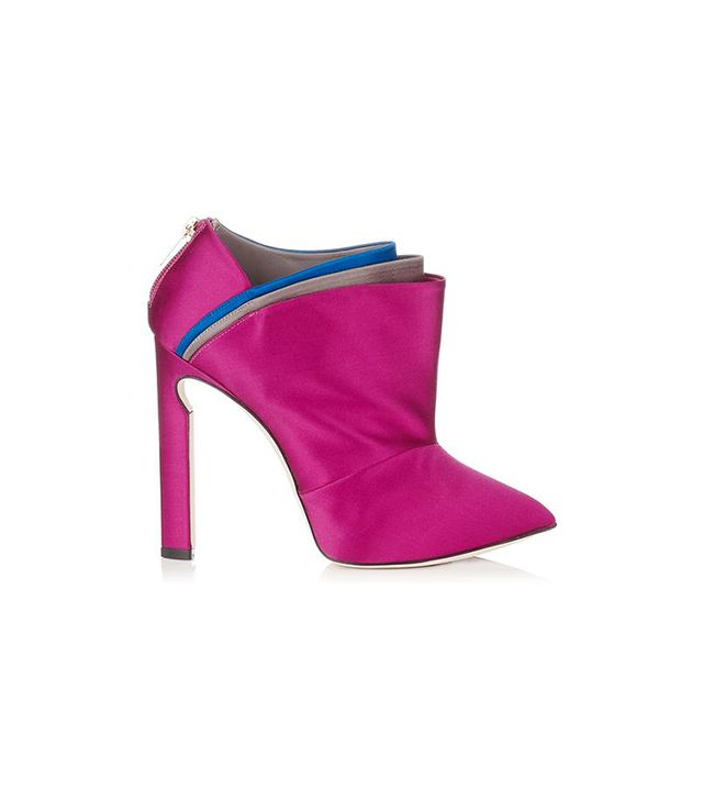 Jimmy Choo Dark Orchid and Multi Coloured Folded Satin Ankle Booties