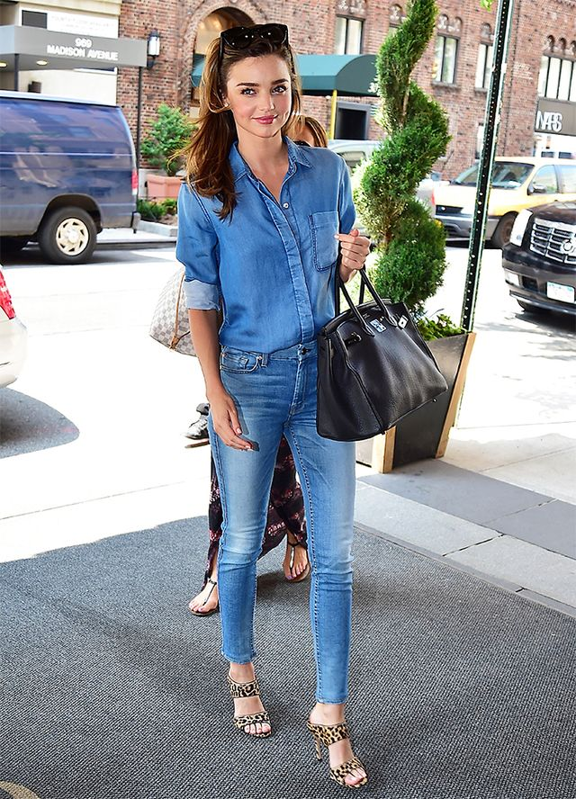 On Kerr: 7 For All Mankind shirt and The Ankle Skinny Jeans ($198); Hermes purse; Miu Miu Leopard-Print Calf Hair Mules ($790)