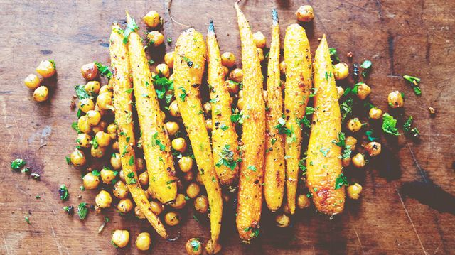 Recipe of the Week: Harissa Roasted Carrots With Chickpeas