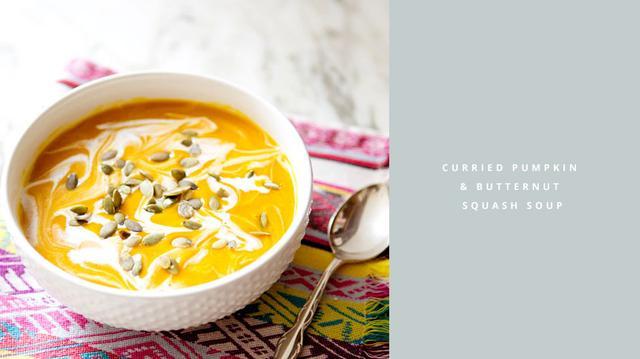 Curried Pumpkin and Butternut Squash Soup