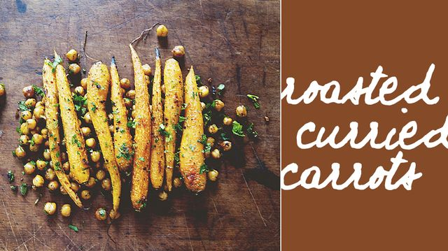 Harissa Roasted Carrots with Chickpeas and Herbs