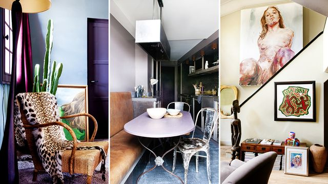Home Tour: Subtle Purples and Rustic Materials in Paris
