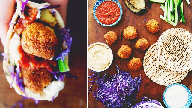Falafel Stuffed Pitas with Roasted Eggplant