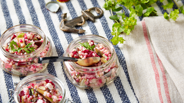 Recipe: Israeli Couscous with Wild Mushrooms, Roasted Fennel, Beets, French Feta and Lemon Oil